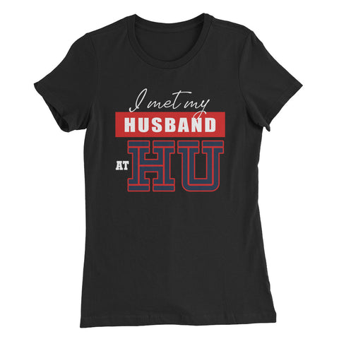 I Met My Husband At HU Howard University  Women's Slim Bella + Canvas Fit T-Shirt - We Wear Our HBCUs