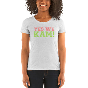 Yes We Kam Pink and Green Ladies' Soft Form Fitting T-shirt