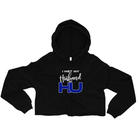 I Met My Husband at HU  Hampton University Fall Drawstring Crop Top Hoodie Sweatshirt - We Wear Our HBCUs