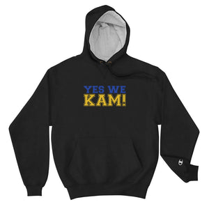 Yes We Kam Yellow and Blue Unisex Champion Hoodie