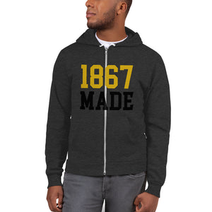 Alabama State University 1867 Made Unisex Zip-Up Fleece Hoodie - We Wear Our HBCUs