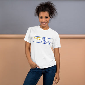 HBCU Mom Yellow and Blue T-Shirt - We Wear Our HBCUs