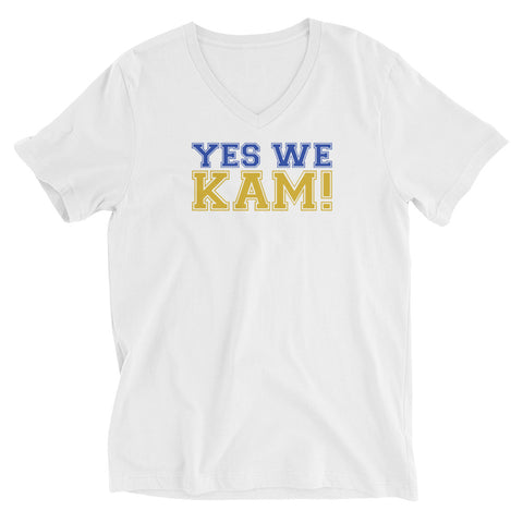 Yes We Kam Yellow and Blue Unisex V-Neck T-Shirt