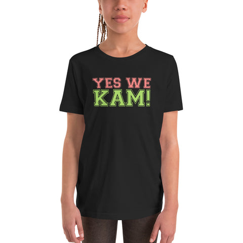 Yes We Kam Pink and Green Youth Basic Tee