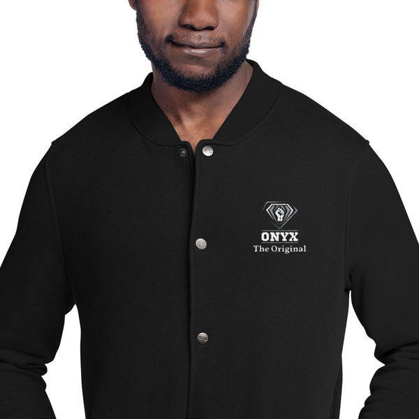 Hampton University ONYX The Original Embroidered Champion Bomber Jacket - We Wear Our HBCUs