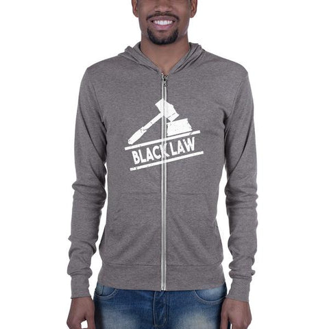 Black Law Hoodie Unisex Zip Up Hoodie With Kangaroo Pockets - Men Order A Size Up - We Wear Our HBCUs
