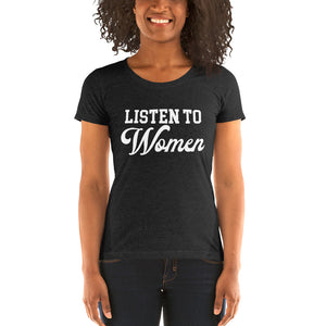 Listen To Women Ladies' Soft Form Fitting T-shirt - We Wear Our HBCUs