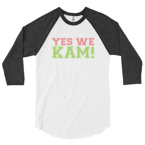 Yes We Kam Pink and Green Unisex Baseball Shirt