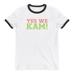 Yes We Kam Pink and Green Unisex  Ringer Tee