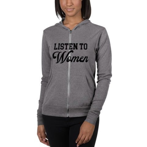 Listen to Women Unisex Lightweight Zip Up Hoodie - men size up - We Wear Our HBCUs
