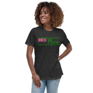 HBCU Mom Pink and Green Women's Relaxed T-Shirt - We Wear Our HBCUs