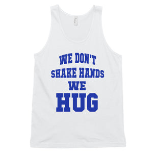 Hampton University | We Don't Shake Hands We Hug | Premium Unisex Tank Top - We Wear Our HBCUs