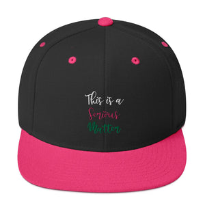 "Alpha Kappa Alpha ""This Is A Serious Matter"" Embroidered Snapback Hat - We Wear Our HBCUs"