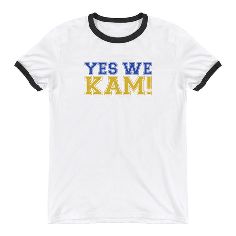 Yes We Kam Yellow and Blue Unisex  Ringer Tee