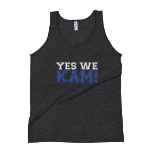 Yes We Kam Blue and White Women's Tri-Blend Tank Top