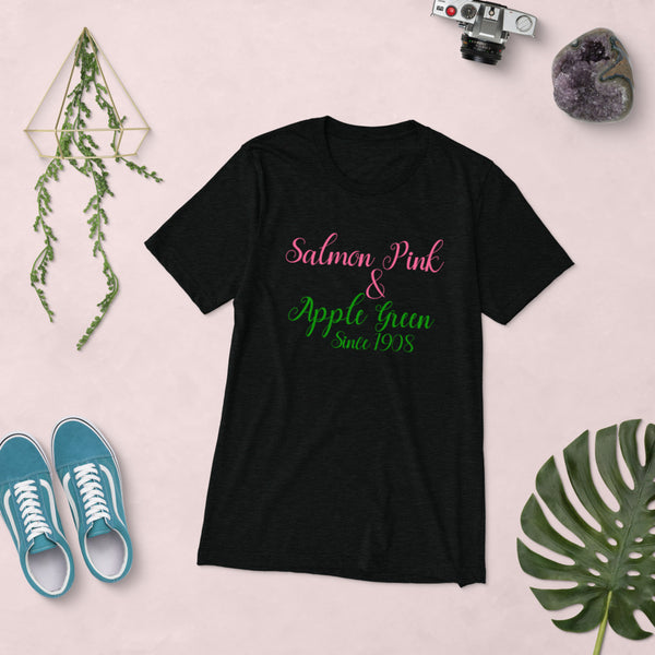 Alpha Kappa Alpha Salmon & Pink Short sleeve soft tri-blend t-shirt up to 4XL - We Wear Our HBCUs