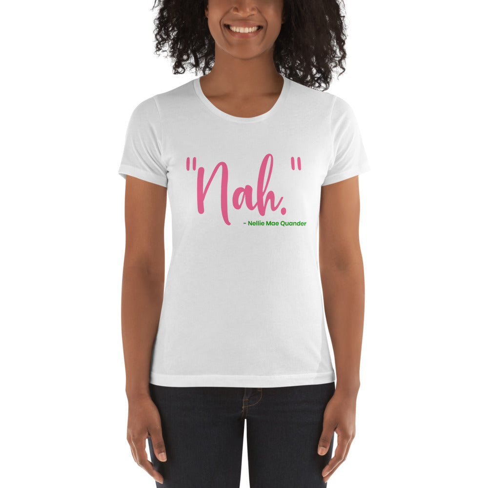 "Alpha Kappa Alpha ""Nah"" Nellie Mae Quander Women's Boyfriend tee - We Wear Our HBCUs"