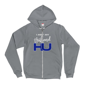 Hampton University | I Met My Husband At HU | Unisex Sporty Zip Up Hoodie With A Soft Inside - We Wear Our HBCUs