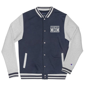 Hampton Mom Embroidered Champion Bomber Jacket - We Wear Our HBCUs