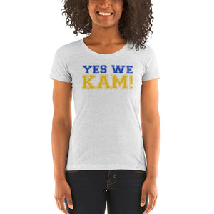 Yes We Kam Yellow and Blue Ladies' Soft Form Fitting T-shirt