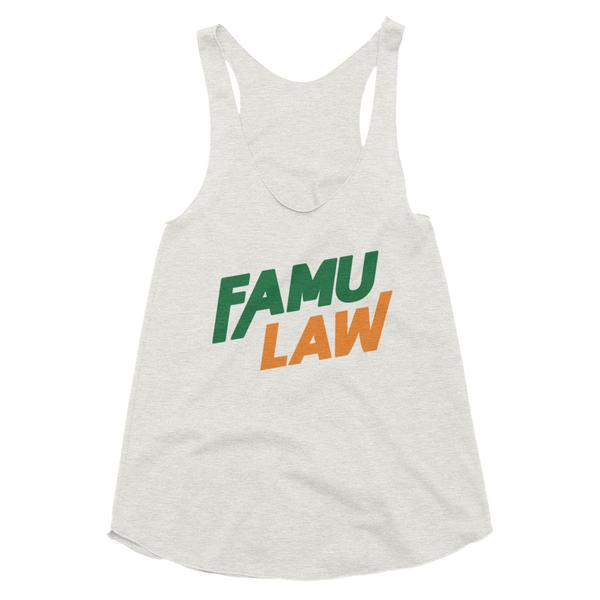 FAMU Law Florida A&M College of Law Slim Form Fitting Women's Tri-Blend Racerback Tank - We Wear Our HBCUs