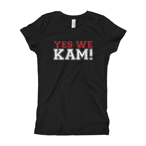 Yes We Kam Red and White Girl's Slim Fit Tee