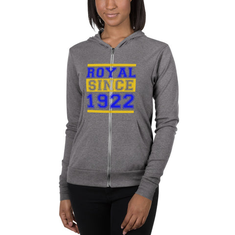 Royal Since 1922 Unisex Soft Lightweight Zip Up Hoodie