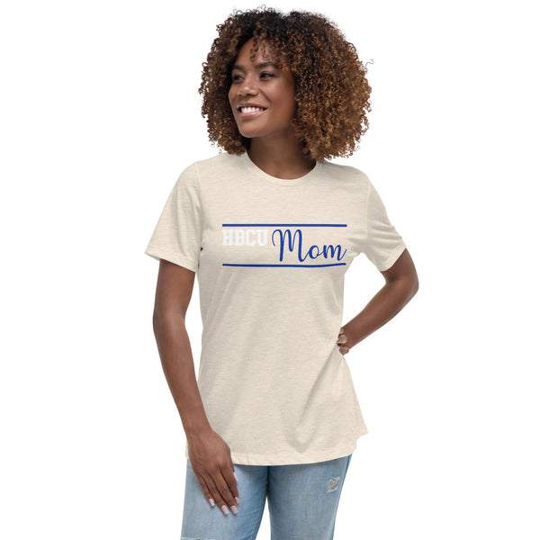 HBCU Mom Blue and White Women's Relaxed T-Shirt - We Wear Our HBCUs