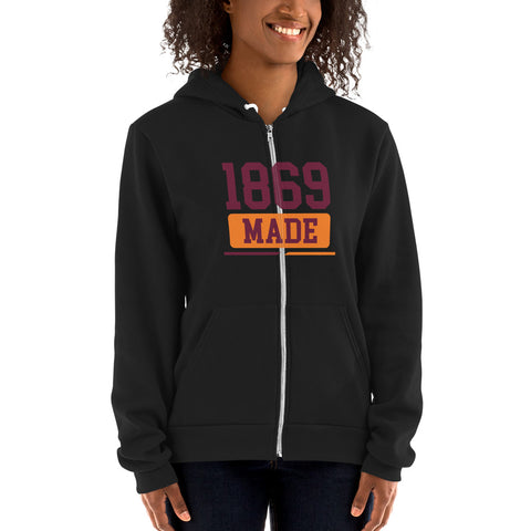 Claflin University 1869 Made Iconic Zip Up Hoodie Sweater - We Wear Our HBCUs