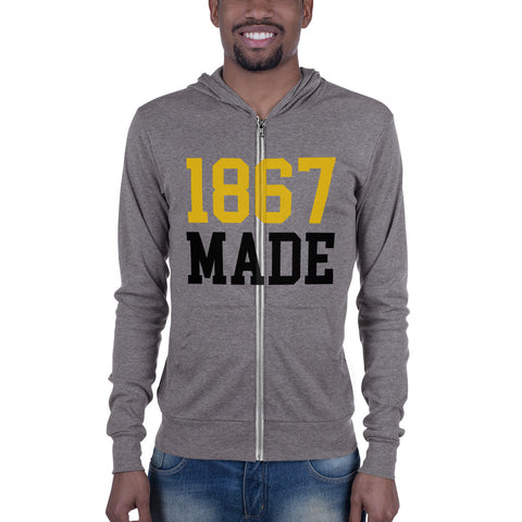 Alabama State University 1867 Made Unisex Lightweight Zip Up Hoodie - men size up - We Wear Our HBCUs