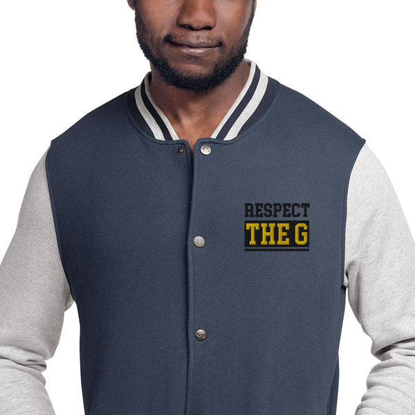 RESPECT THE G GRAMBLING STATE UNIVERSITY Embroidered Champion Bomber Jacket - We Wear Our HBCUs
