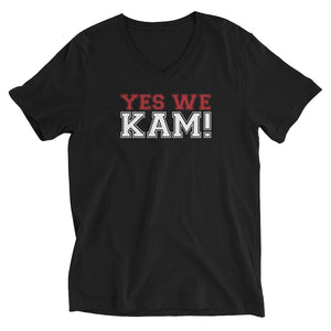 Yes We Kam Red and White Unisex V-Neck T-Shirt