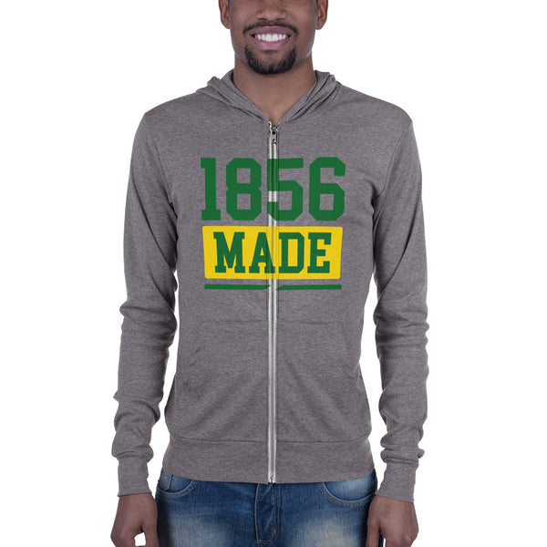 Wilberforce University 1856 Made Unisex Lightweight Zip Up Hoodie - men size up - We Wear Our HBCUs