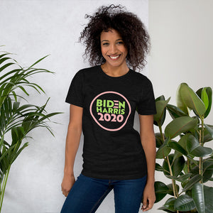 Biden Harris 2020 Pink and Green Short-Sleeve Unisex T-Shirt