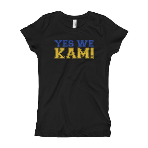 Yes We Kam Yellow and Blue Girl's Slim Fit Tee