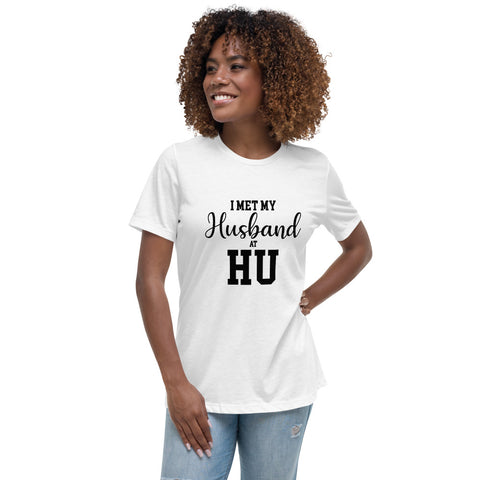 I Met My Husband At HU Hampton University Women's Relaxed T-Shirt - We Wear Our HBCUs