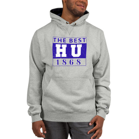 The Best HU 1868 Hampton University  Champion Hoodie With Drawstrings and Front Pouch Pocket - We Wear Our HBCUs