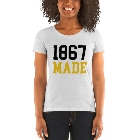 Alabama State University 1867 Made Ladies' Soft Form Fitting T-shirt - We Wear Our HBCUs