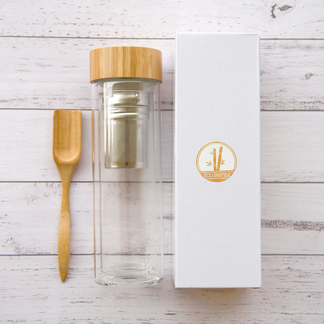 Double Wall Glass Tea Infuser Bottle
