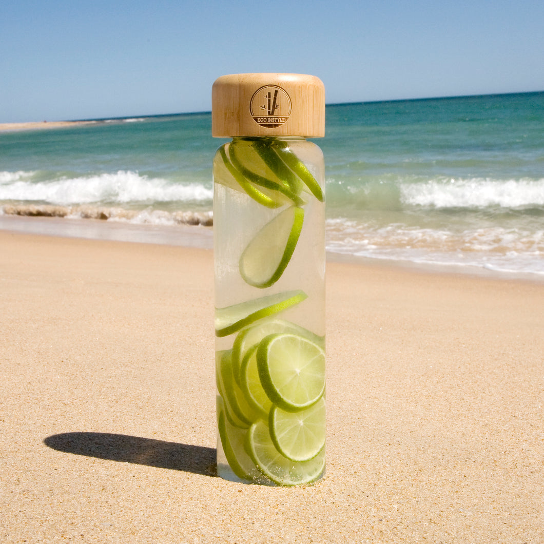 GLASS  WATER BOTTLE WITH BAMBOO LID