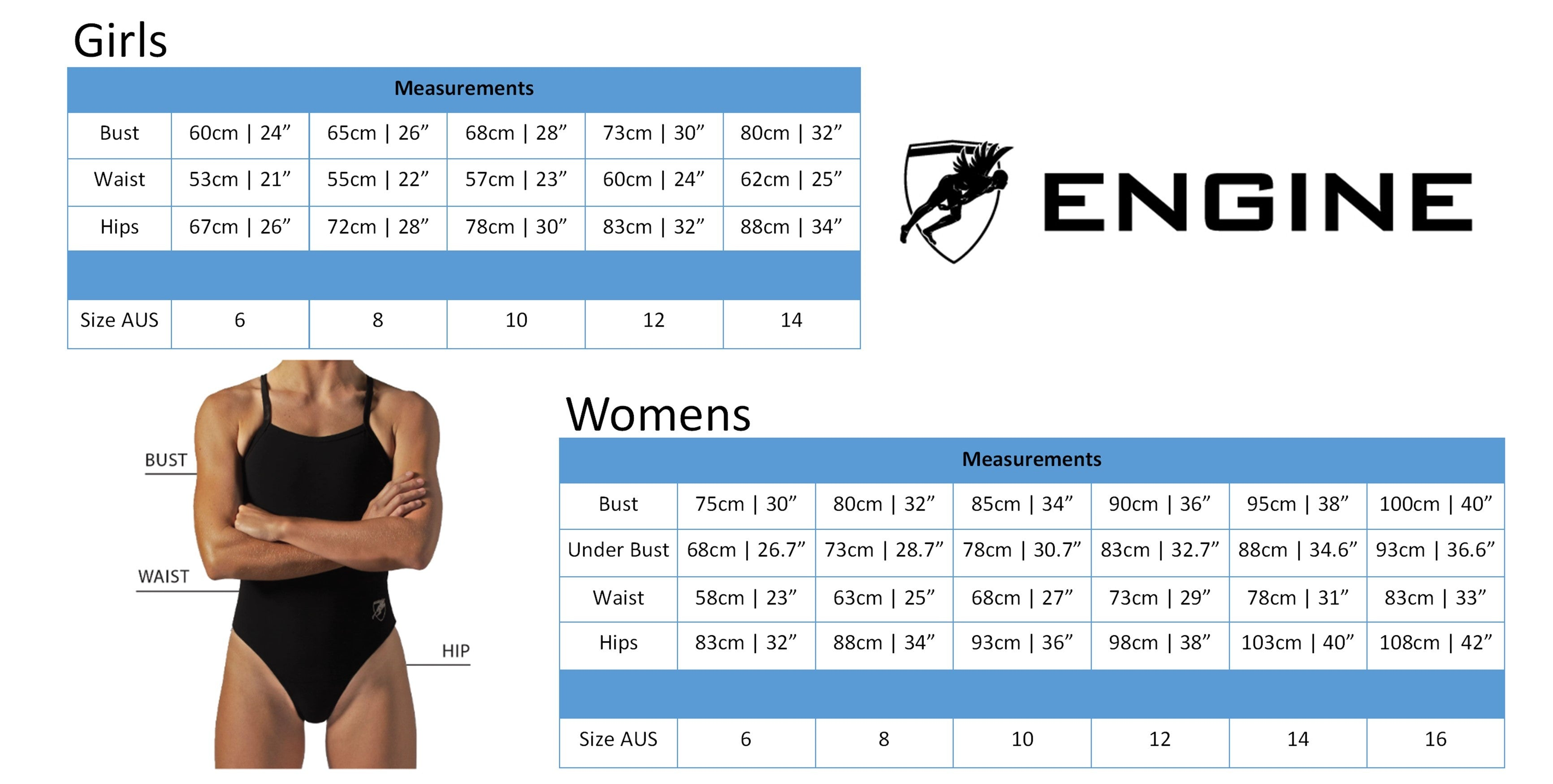 Engine female size chart