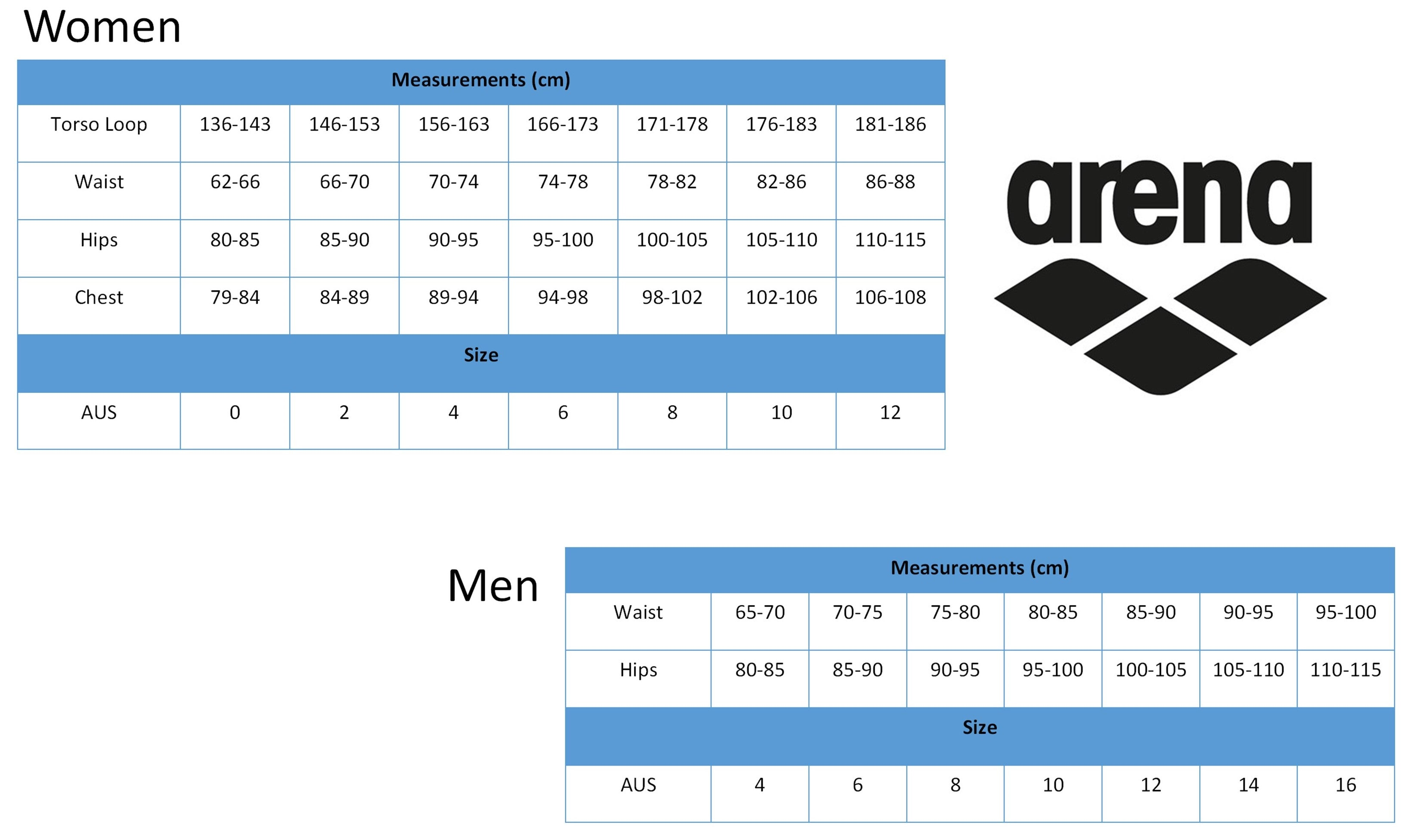 Arena Race adult sizes