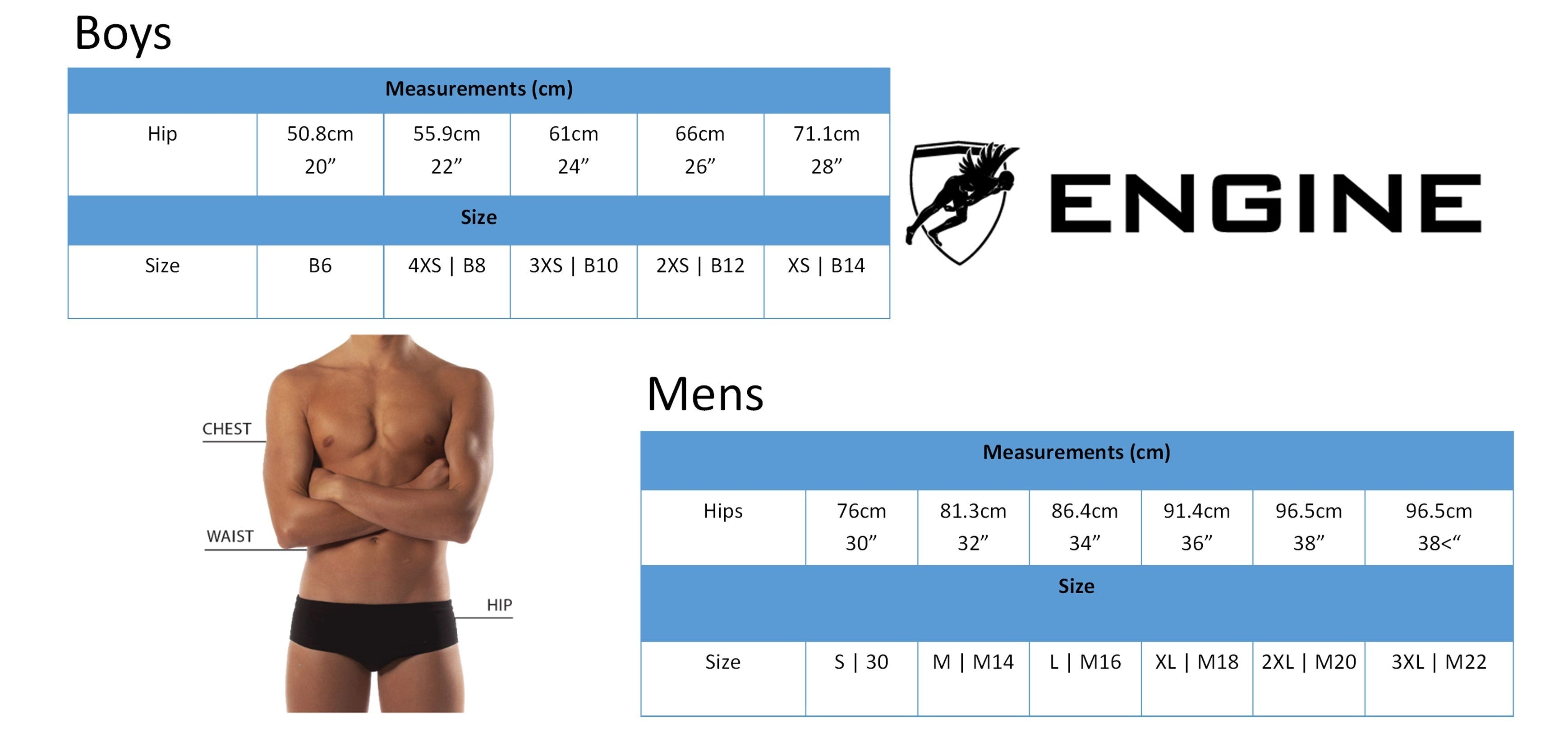 engine swim sizing