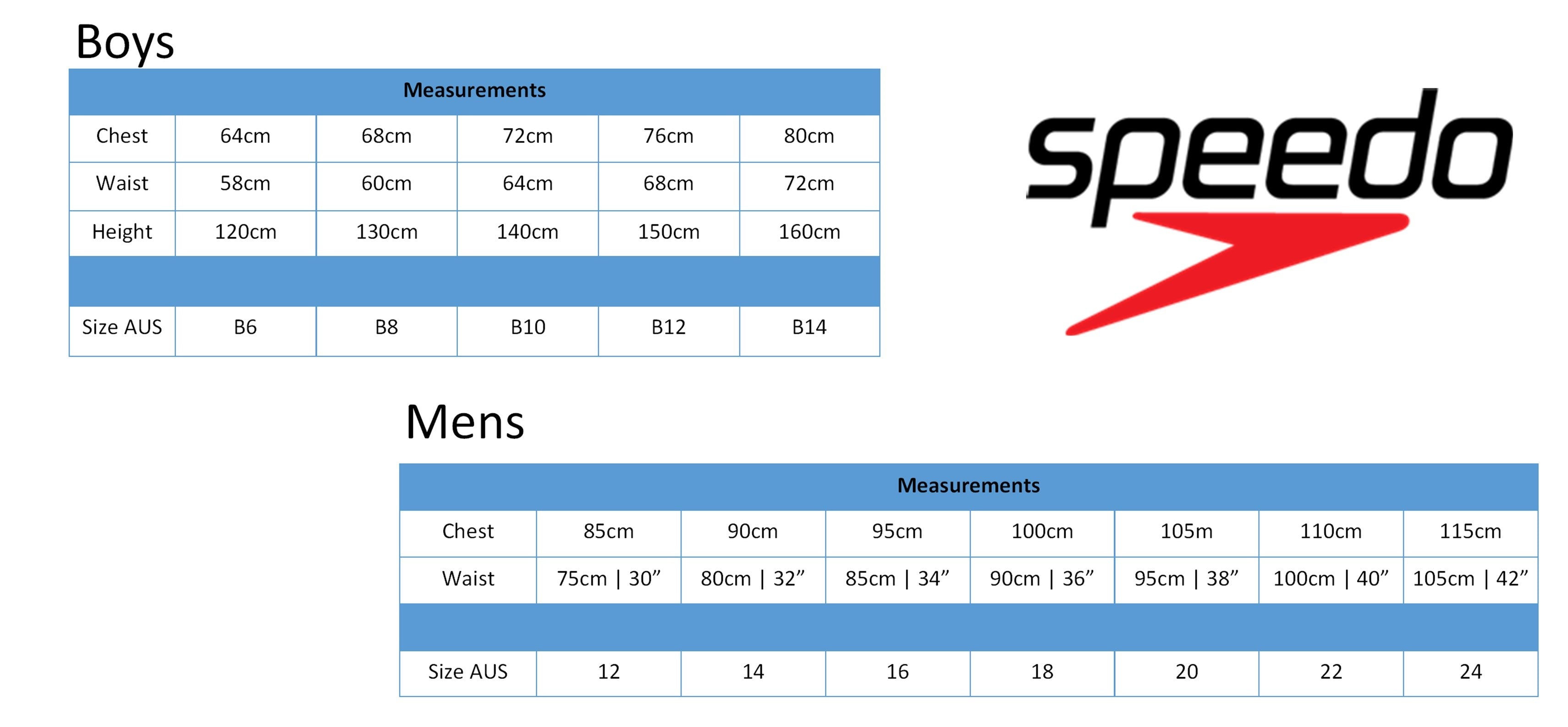 Speedo Male size