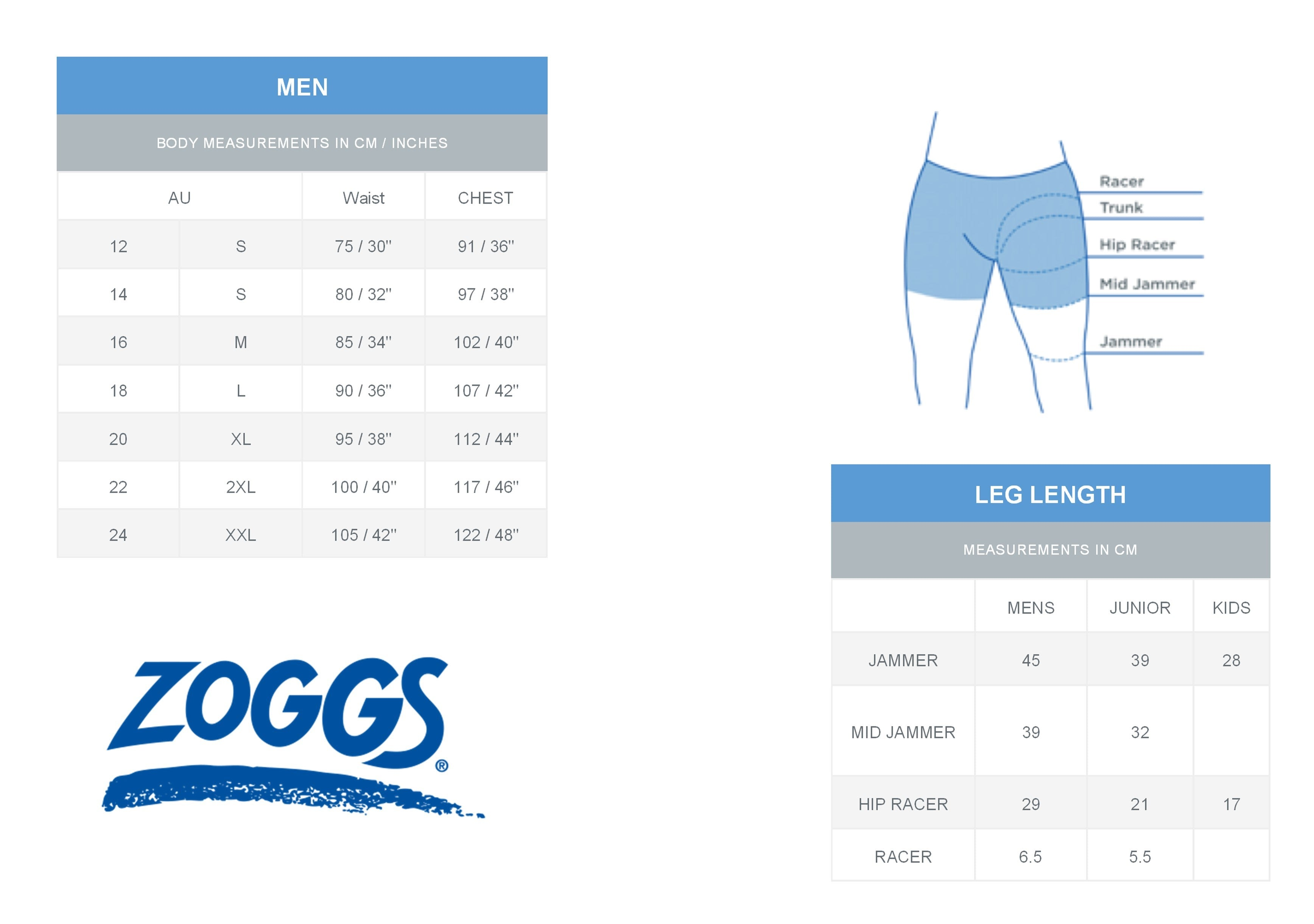 Zoggs Mens sizing
