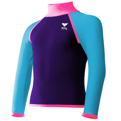 GIRLS SOLID RASHGUARD PURPLE/PINK TYR