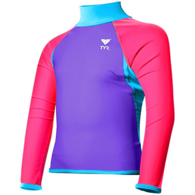 GIRLS SOLID RASHGUARD PURPLE/PINK/BLUE TYR