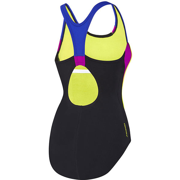 SPEEDO WOMENS IMAGE UPLIFT ONE PIECE BLACK/FLURO MAGENTA/ULTRAMARINE