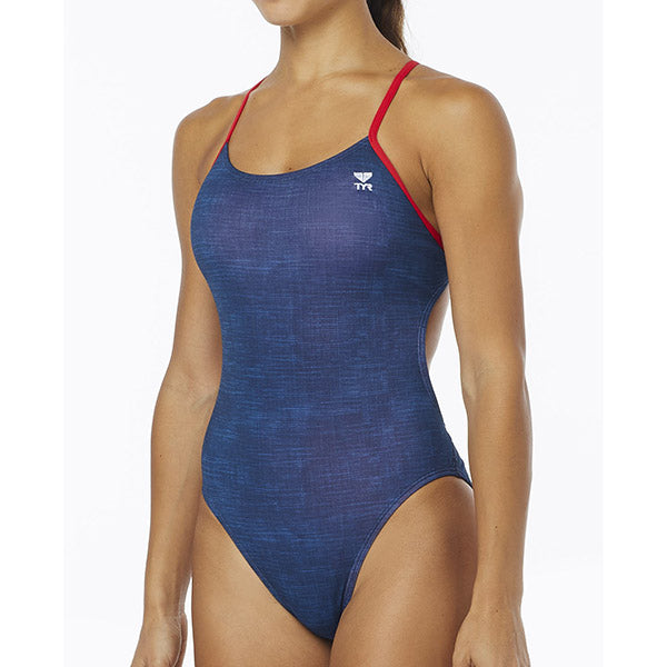 WOMENS SANDBLASTED CUTOUTFIT NAVY ONE PIECE TYR