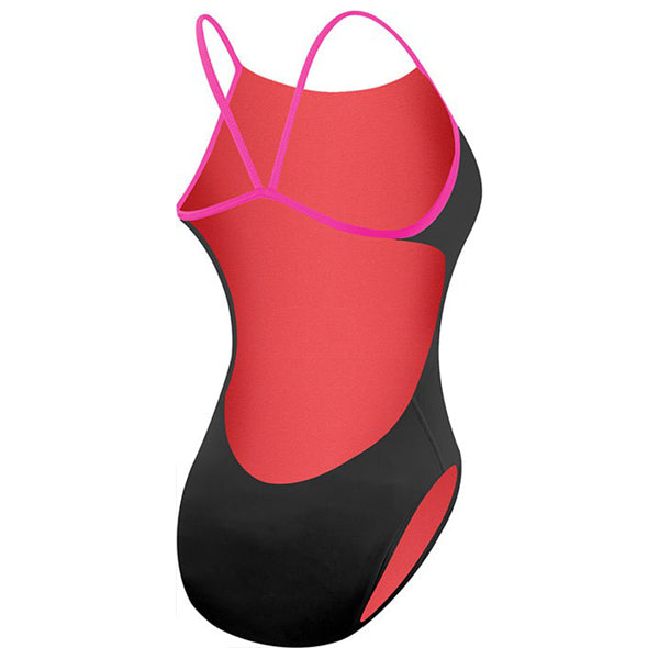 WOMENS SOLID CUTOUTFIT BLACK/PINK TYR